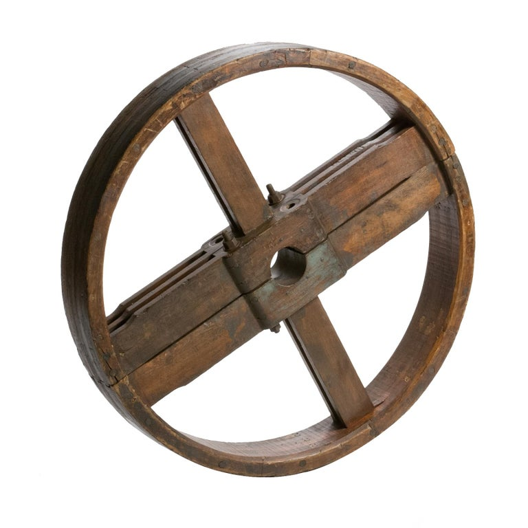 1900 French Industrial Wooden Wheel For Sale
