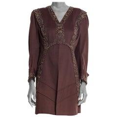 Edwardian Dove Grey & Black Wool Art Nouveau Inspired Unlined Jacket