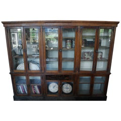 1900 Oak Glass Front Bookcase / Backbar