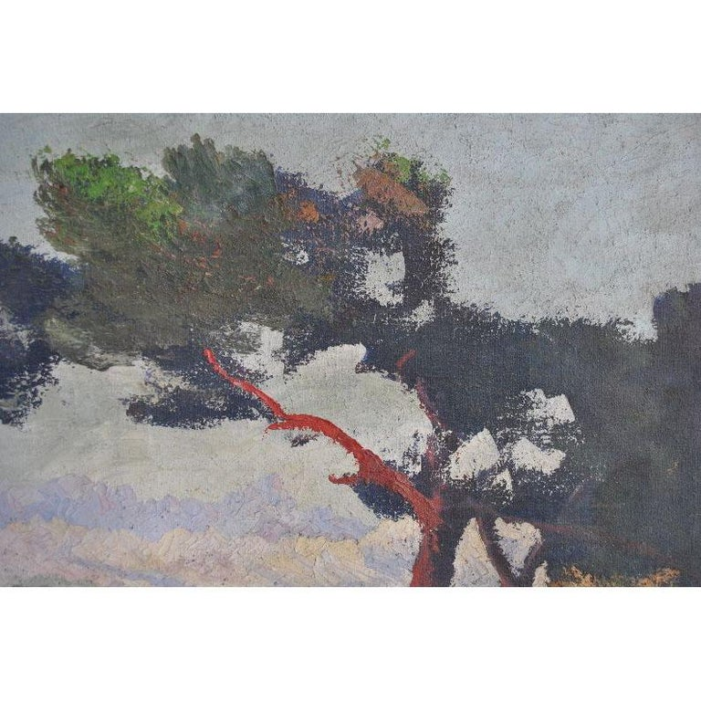 French Provincial 1900 Oil Painting on Canvas Pastoral Scene For Sale