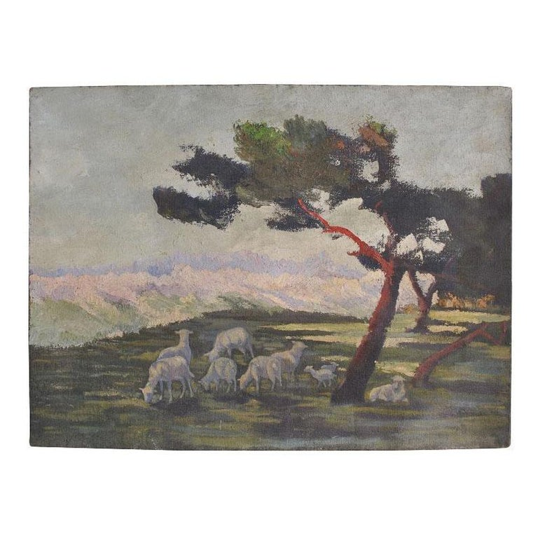 Hand-Painted 1900 Oil Painting on Canvas Pastoral Scene For Sale