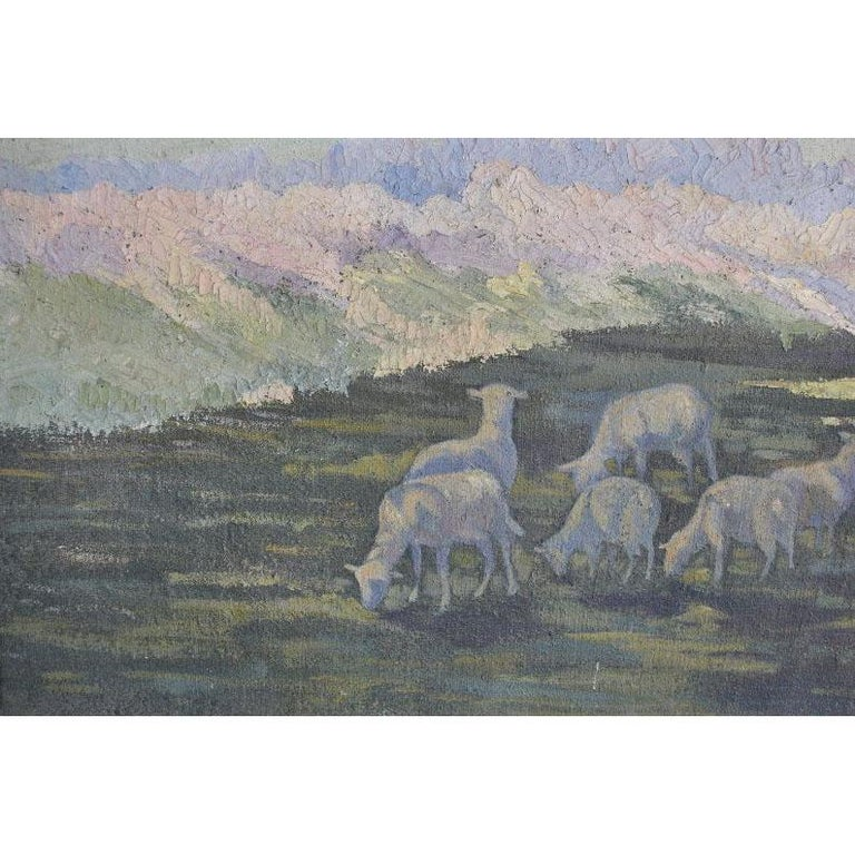 1900 Oil Painting on Canvas Pastoral Scene In Fair Condition For Sale In Marseille, FR