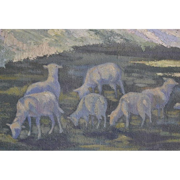 Early 20th Century 1900 Oil Painting on Canvas Pastoral Scene For Sale