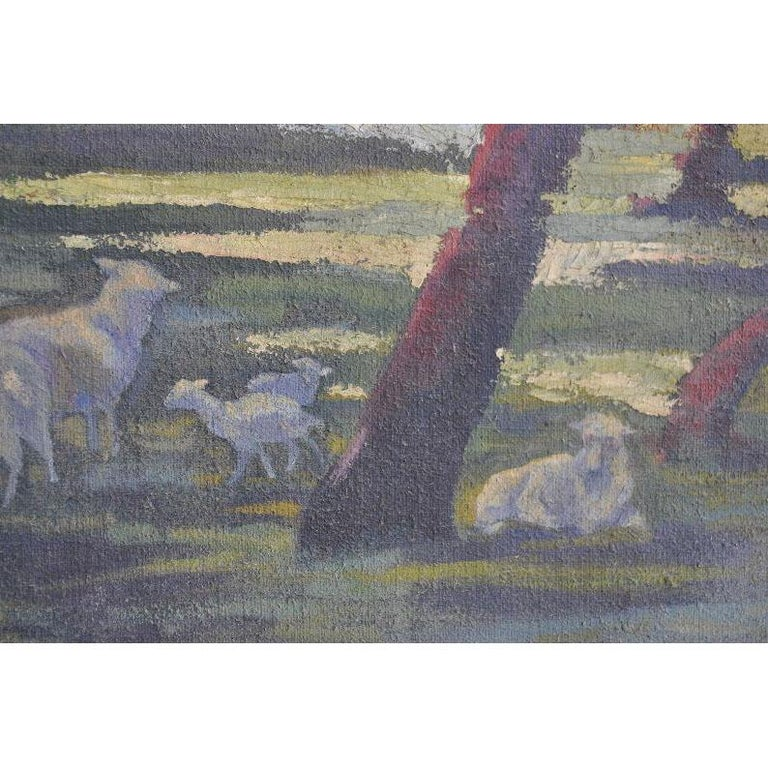 1900 Oil Painting on Canvas Pastoral Scene For Sale 1