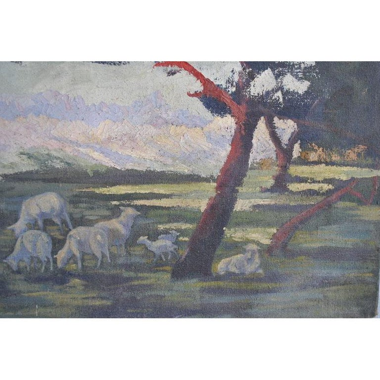 1900 Oil Painting on Canvas Pastoral Scene For Sale