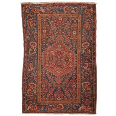 1900 Orange, Red and Green Colors over Blue Background Wool Melayir Rug