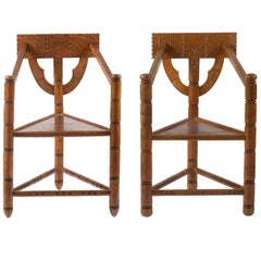 1900 Pair of Swedish Carved Ornament Wooden Armchairs