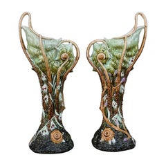 "1900 Pair of Vase ""barbotine"" with Octopus and Shellfish"