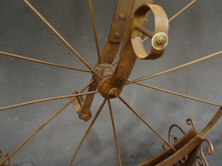 1900 Penny-Farthing English  Bycicle ,Wrought-Iron, Wood, Leather, for Children For Sale 8