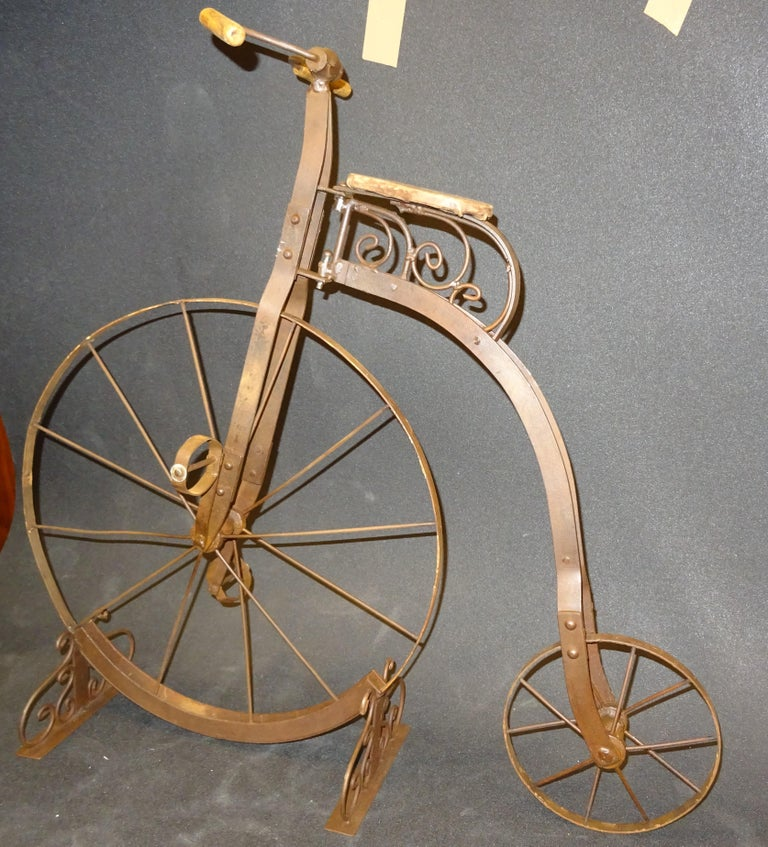 1900 Penny-Farthing English  Bycicle ,Wrought-Iron, Wood, Leather, for Children For Sale 9