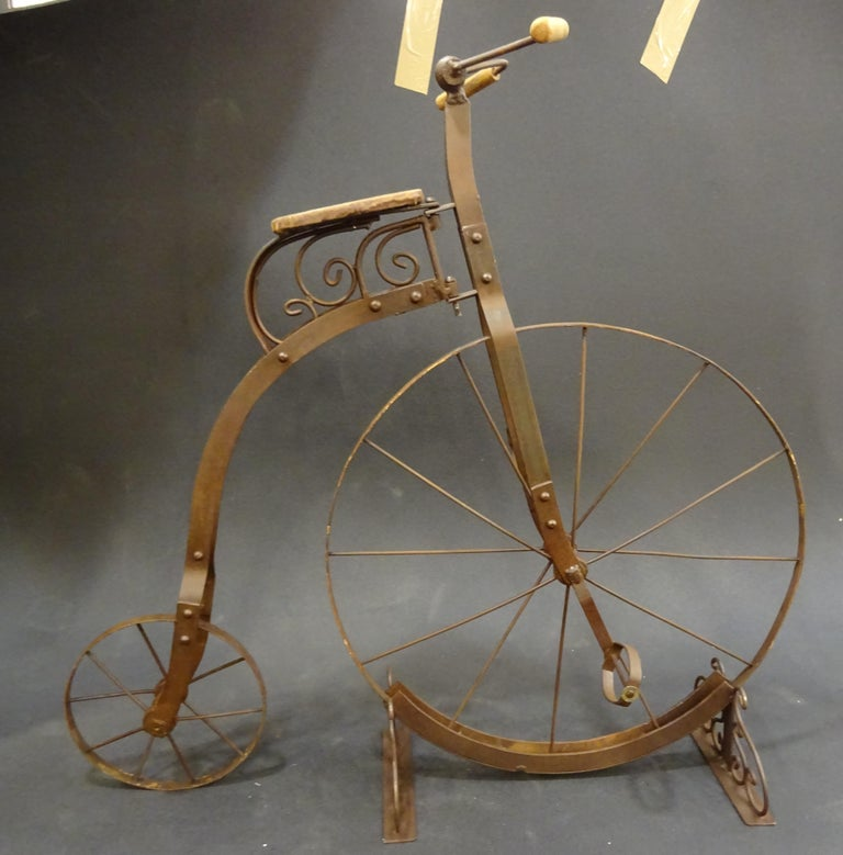 1900 Penny-Farthing English  Bycicle ,Wrought-Iron, Wood, Leather, for Children For Sale 10