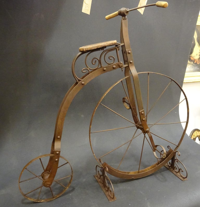 1900 Penny-Farthing English  Bycicle ,Wrought-Iron, Wood, Leather, for Children For Sale 11