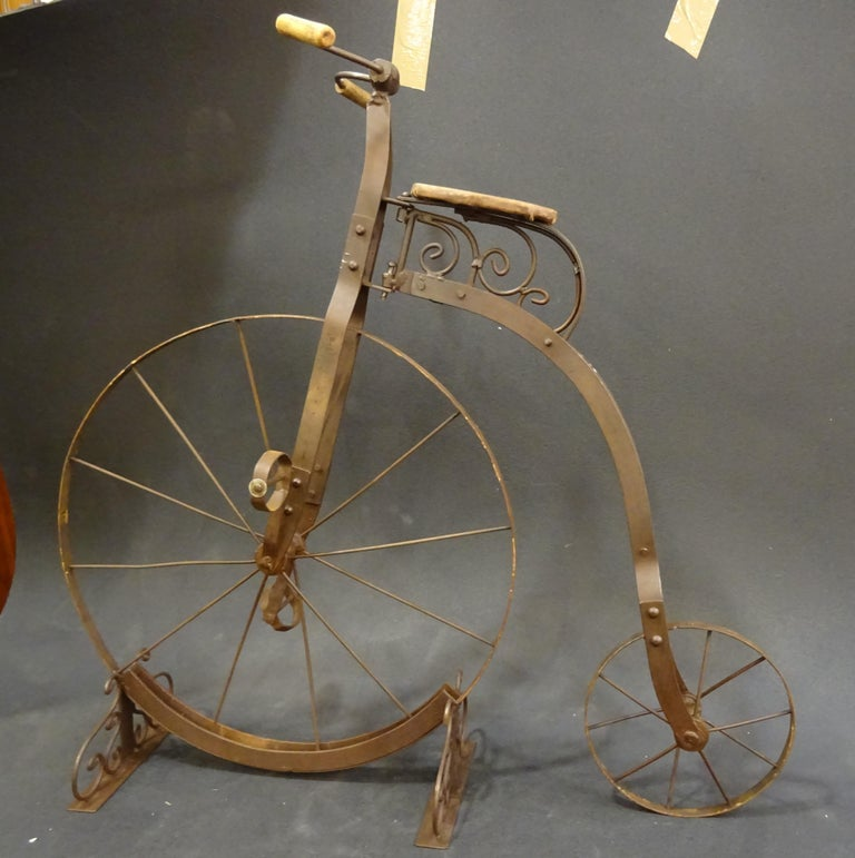 1900 Penny-Farthing English  Bycicle ,Wrought-Iron, Wood, Leather, for Children For Sale 12