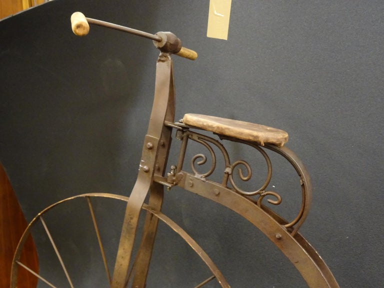 Hand-Crafted 1900 Penny-Farthing English  Bycicle ,Wrought-Iron, Wood, Leather, for Children For Sale