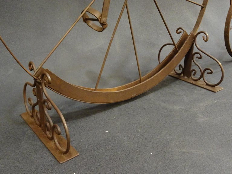 Early 20th Century 1900 Penny-Farthing English  Bycicle ,Wrought-Iron, Wood, Leather, for Children For Sale