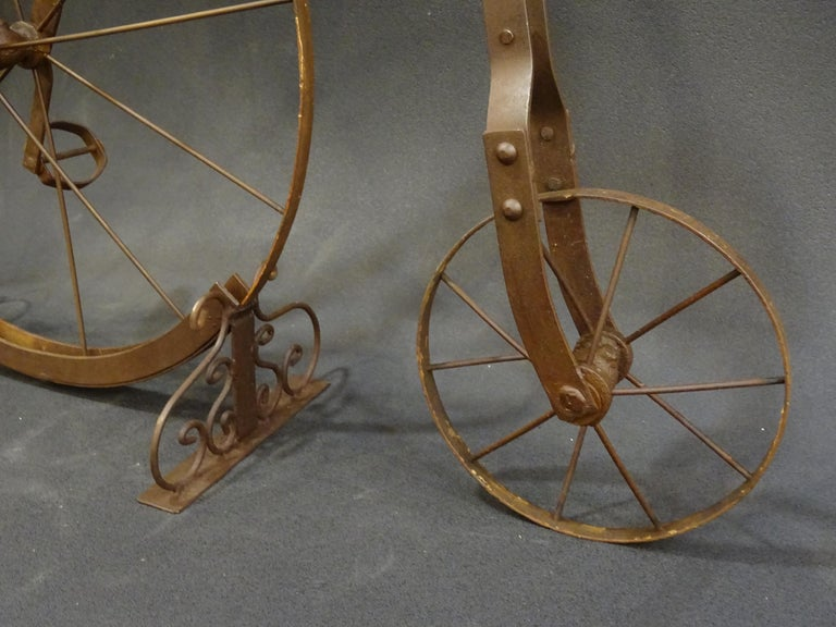 1900 Penny-Farthing English  Bycicle ,Wrought-Iron, Wood, Leather, for Children For Sale 1