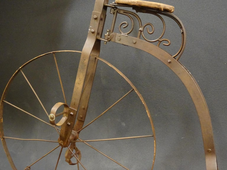 1900 Penny-Farthing English  Bycicle ,Wrought-Iron, Wood, Leather, for Children For Sale 2