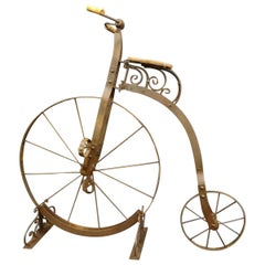 1900 Penny-Farthing English Wrought-Iron, Wood, Leather Bicycle for Children