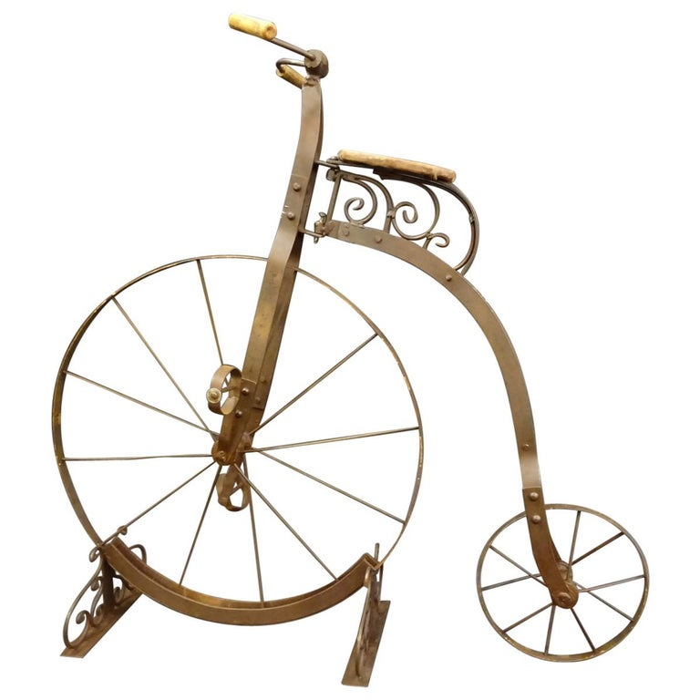 1900 Penny-Farthing English  Bycicle ,Wrought-Iron, Wood, Leather, for Children For Sale
