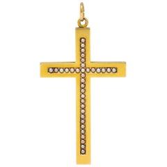 1900 Victorian Natural Freshwater Pearl 14 Karat Gold Cross Pendant