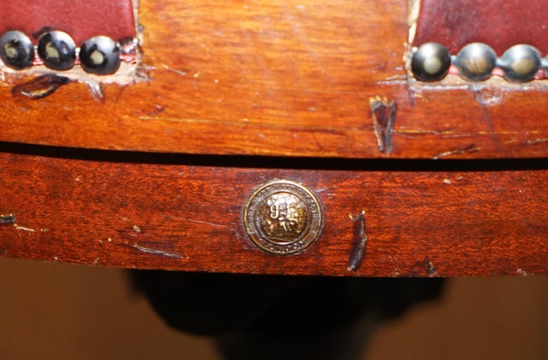 1900 Wylie & Lochhead by Appointment to the King Oxblood Leather Captains Chair For Sale 10