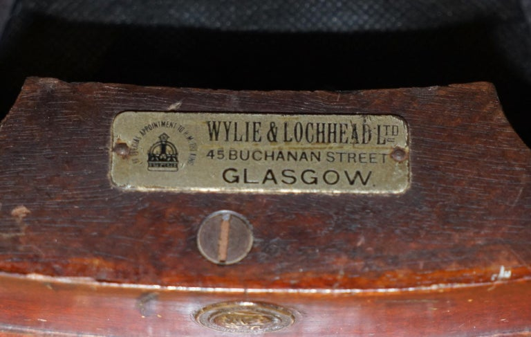 We are delighted to offer for sale this very rare and highly collectable fully stamped Oxblood leather captains chair made by Wylie & Lochhead LTD by special appointment to H.M The King, circa 1900  A very comfortable and highly coveted office