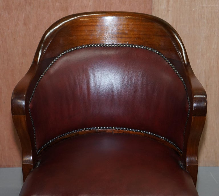 Hand-Crafted 1900 Wylie & Lochhead by Appointment to the King Oxblood Leather Captains Chair For Sale