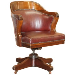 1900 Wylie & Lochhead by Appointment to the King Oxblood Leather Captains Chair