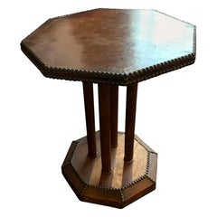 English Octagonal Leather Side Table, England, circa 1900