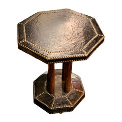 Octagonal Shape Leather Side Table, England, circa 1900