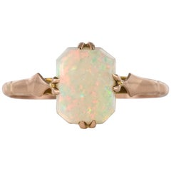 1900s 0.75 Carat Solitaire Australian Opal Rose Gold Ring