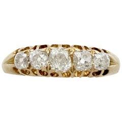 1900s 1.13 Carat Diamond Yellow Gold Five-Stone Ring
