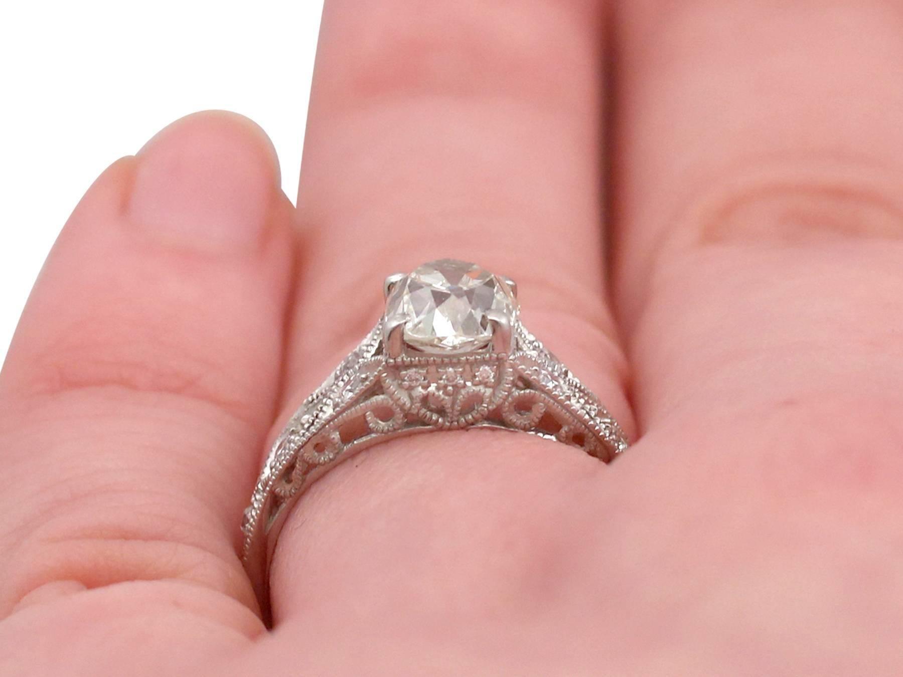 1900s 1.18 Carat Diamond and Contemporary Platinum Solitaire Ring ...