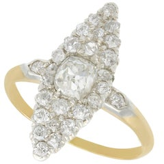 1900s 1.57 Carat Diamond Yellow Gold Marquise Cocktail Ring