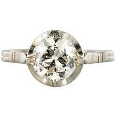 1900s 18 Carat White Gold 1.20 Carat Brillant Cut Diamond Solitaire Ring