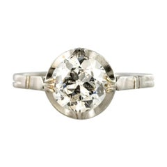 1900s 18 Carat White Gold 1.20 Carat Brilliant Cut Diamond Solitaire Ring