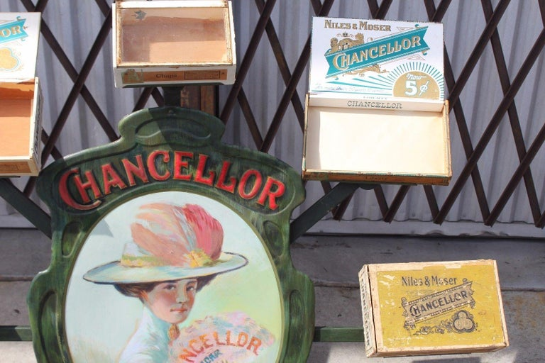 American 1900s-1920s Chancellor Cigars Tin Display Store Advertising For Sale