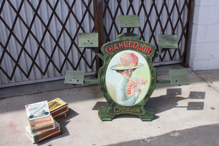 Early 20th Century 1900s-1920s Chancellor Cigars Tin Display Store Advertising For Sale