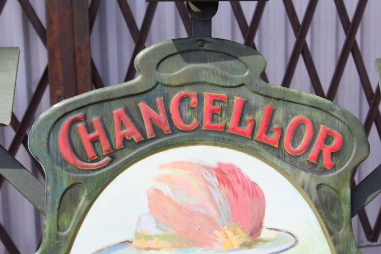 1900s-1920s Chancellor Cigars Tin Display Store Advertising For Sale 1