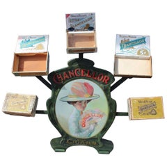 1900s-1920s Chancellor Cigars Tin Display Store Advertising