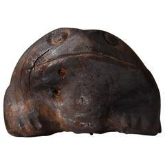 1900s-1940s Frog God Japanese Wooden Sculpture Antique Toad Object Wabisabi