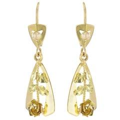 1900s 2 Golds Rose Decoration Dangle Earrings