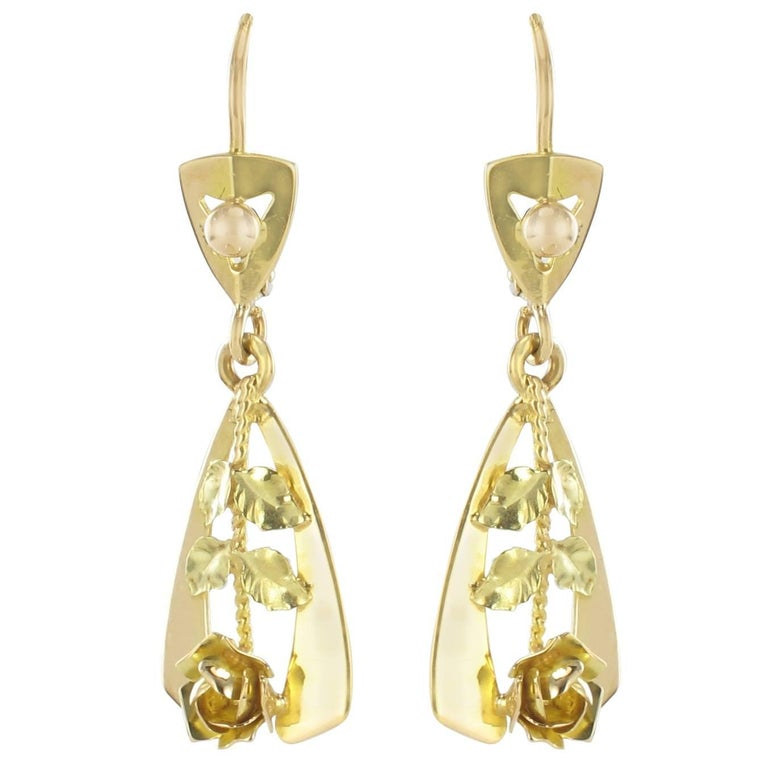 1900s 2 Golds Rose Decoration Dangle Earrings