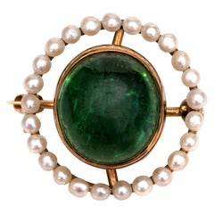 1900s 4 Carat Tourmaline and Sea Pearl Lapel Pin