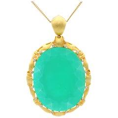 1900s 51.69 Carat Chrysoprase and Diamond Yellow Gold Pendant