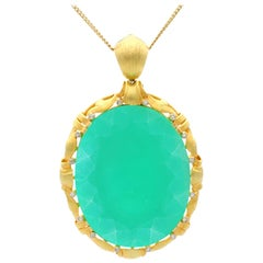 1900s 51.69 Carat Chrysoprase and Diamond Yellow Gold Pendant