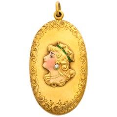 1900s Alling & Co. American Art Nouveau Enameled Gold Locket