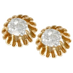 1900s Antique 1.13 Carat Diamond and Yellow Gold Stud Earrings