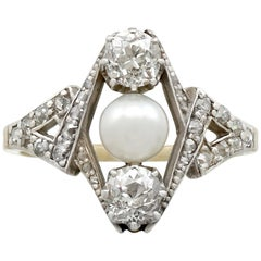 1900s Antique 1.15 Carat Diamond Pearl Yellow Gold Cocktail Ring
