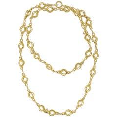 1900s Antique 18 Karat Gold Round Link Chain Necklace